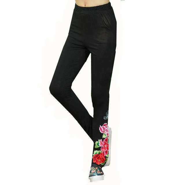 Autumn Sprint Vintage Women Bottom Leggings Elastic High Waist Embroidery Black Slim Stretch Trousers Female New