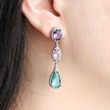 hot deal buy 2019 new trendy copper colorful aaa cubic zirconia water drop geometric trendy dangle earrings women earrings free drop shipping