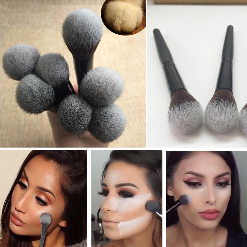 Professional 1pcs Black Wood Handle Beauty Face Brush Foundation Brushes Single Makeup Brushes Tools chunky handle makeup brush 1pcs