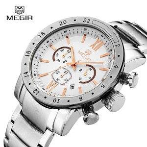 Image 4 - MEGIR montre bracelet à quartz pour hommes, montre bracelet blanche, à la mode, avec trois yeux, étanche et lumineuse, pour hommes, tendance