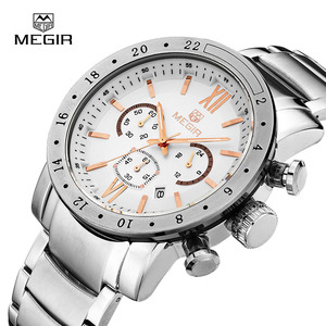 Image 4 - Megir ホットブランド男性用クォーツ時計男のビジネス白腕時計ファッション三目防水夜光時計のための男性