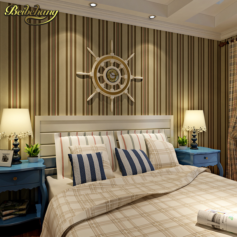 beibehang wall paper Shop for imported non-woven wallpaper Mediterranean vertical stripes wallpaper bedroom papel parede beibehang mediterranean vertical stripes non woven wallpaper for living room bedroom tv background wall paper roll wallpaper 3d