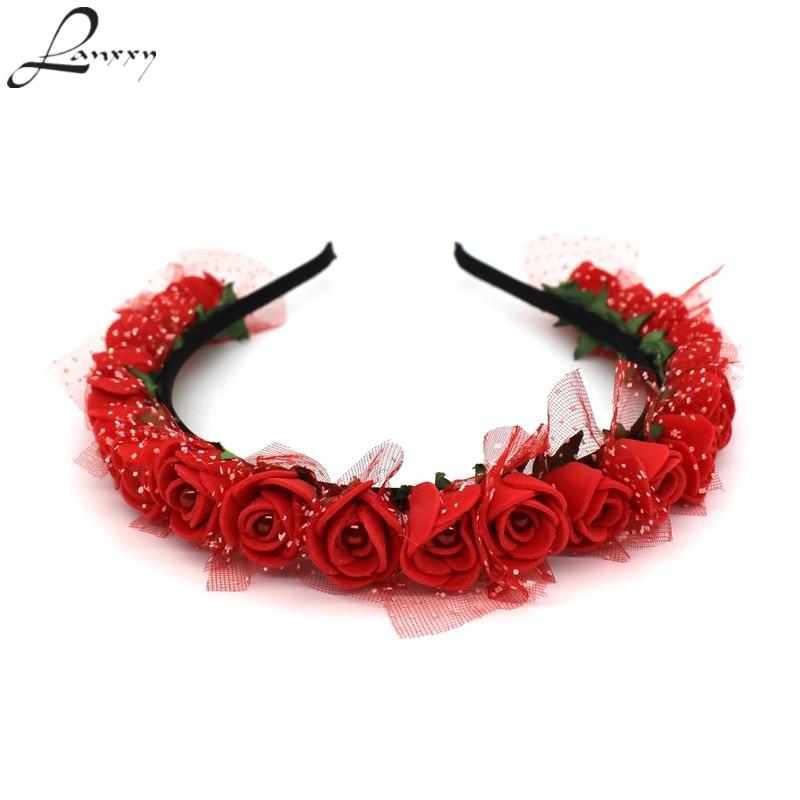 Lanxxy 2017 Nové módní Pearl květiny Hairbands pro dívky Ženy Svatební Svatební vlasové doplňky Květinové čelenky