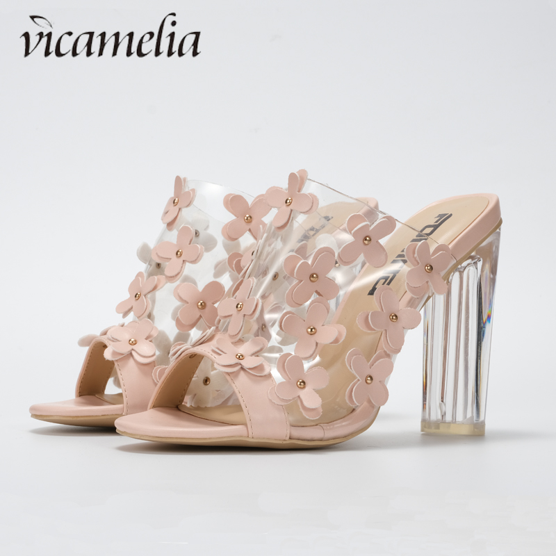 Vicamelia Newset Transparent High Heel Sandals With Small Flower Ladies Clear Sandals Shoes Women Open Toe Summer Slippers 560 in High Heels from Shoes