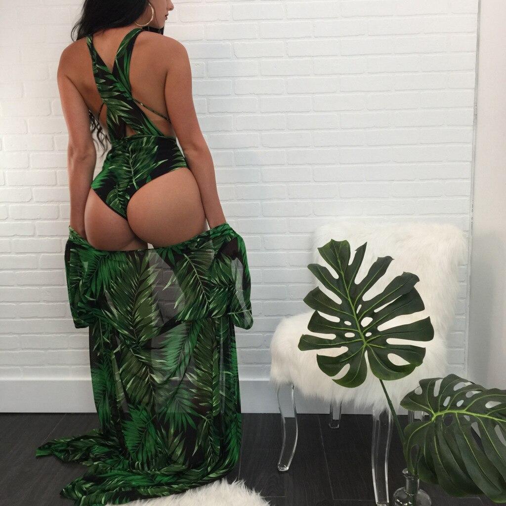 2 шт./компл. женщин Maillots De Bain зеленый ванный комплект пикантные Одна деталь Costumes женщин Conjuntos de Bikinis с длинным рукавом Cover Ups + Купальник Y048