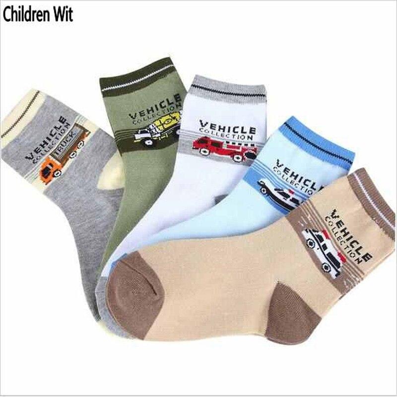 Kinder Socken Frühling & Herbst Neue Baumwolle Cartoon Auto Socken Für Jungen 1-12 Jahre Kinder Socken (5 Paare/paket) Kinder Wit VerrüCkter Preis