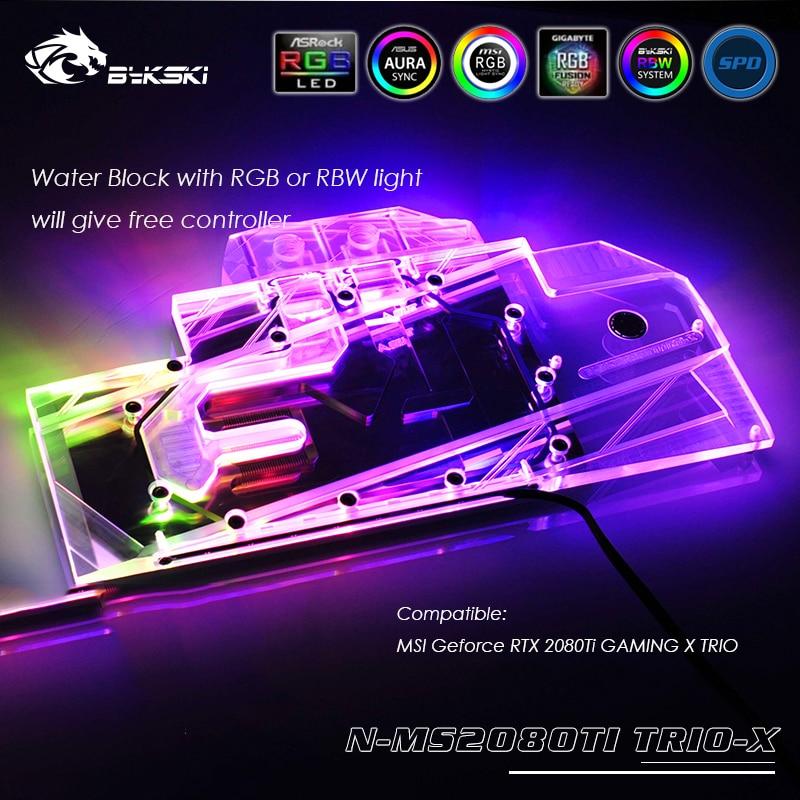 N-MS2080TI TRIO-X Bykski GPU cooler work with MSI Geforce RTX 2080Ti GAMING X TRIO water cooling block with light controller bykski n ig1060oncev2 x gpu water cooling block for colorful gtx1060 gaming