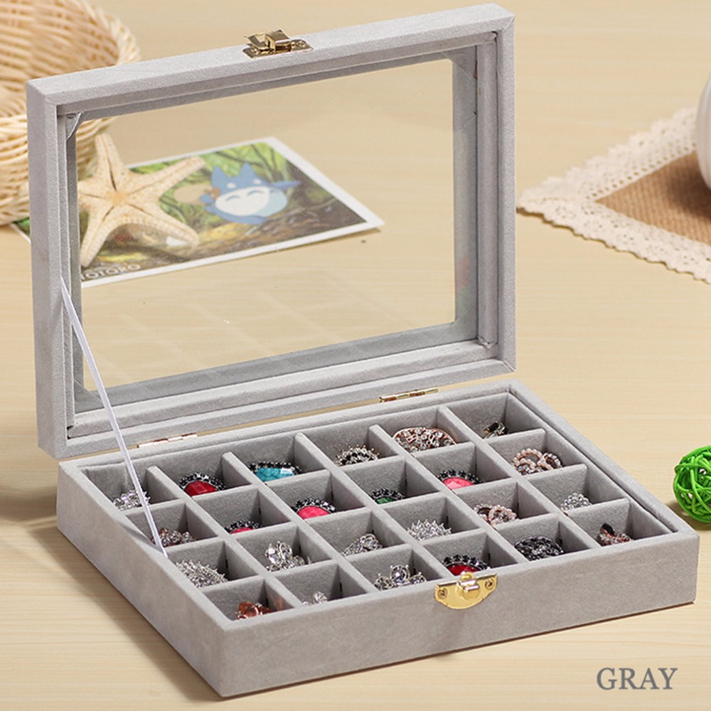 24 Slots Velvet Women Desk Jewelry Storage Box Portable Ring Necklace Jewelry Carrying C ...