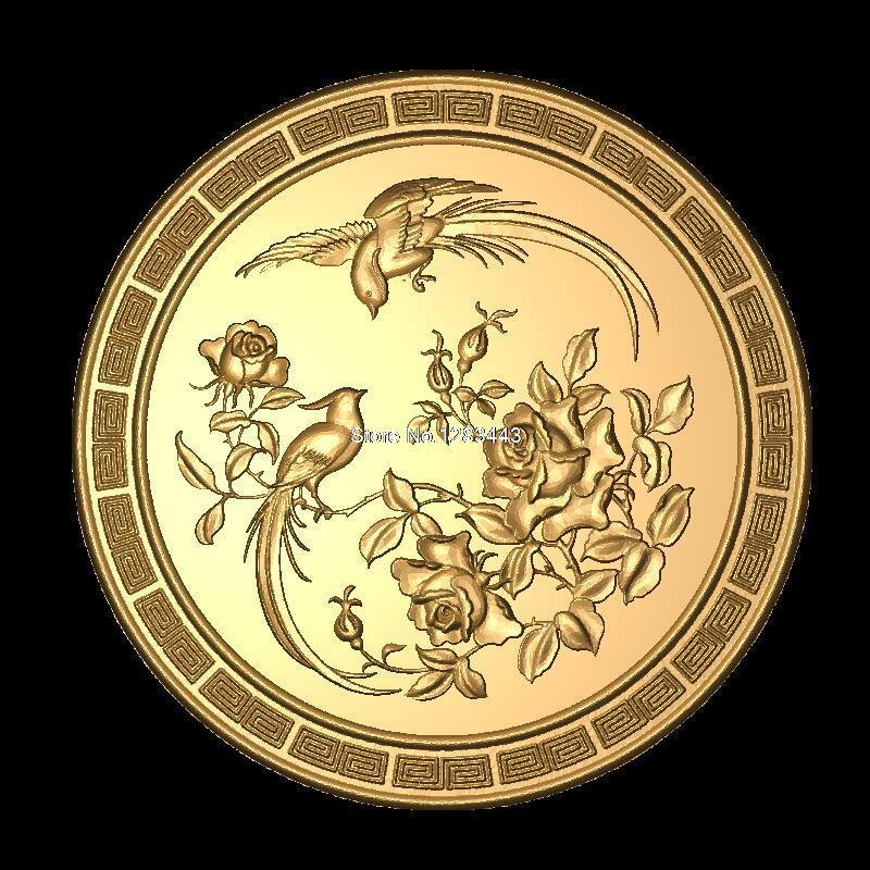 Bird-flower 3D Model STL Relief For Cnc STL Format Furniture Circular Flower 3D STL Format Furniture Decoration