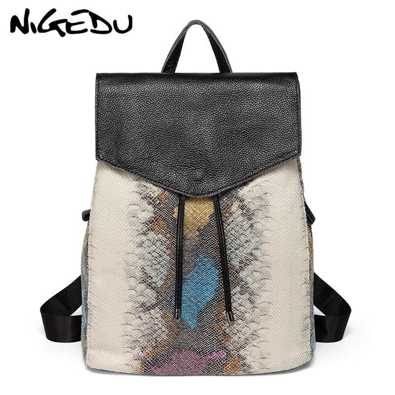 NIGEDU Genuine Leather women backpack schoolbag Fashion serpentine drawstring backpack laptop female shoulder bag Daypack bolsas