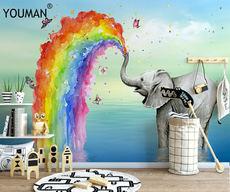 Background Colorful Room: Wallpapers YOUMAN Custom Modern Photo Painting Elephant
