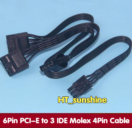 DHL /EMS Free Shipping NEW 6Pin PCI-E to 3 IDE Molex 4Pin Modular Power Supply Adapter Cable for Seasonic KM3 Series