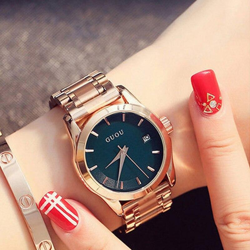 Guou de Negócio para Mulheres Data de Aço Luxo Ladies Rose Gold Bracelet Auto Inoxidável Relógio Feminino Saat 2019 Ver