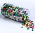 DIY 100 pcs Colorido Squar Contas Carta Decoração Pingente Para Rainbow Tear Bandas Coloridas Impressão de Goma Para Pulseiras Crianças Brinquedos