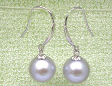 Free shipping 14 solid white gold Excellent 8.2-8.8mm round gray south sea pearls dangle earring