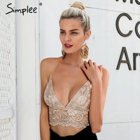 Simplee Sexy Embroidery V Neck Lace Camis Women Backless Lace Up Crop Top 2018 Party Summer