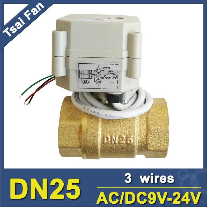 ᗗAC DC9V-24V 3 Fios TF25-S2-C 2-Way Latão 1   Válvula de Esfera ... f2eed9781a