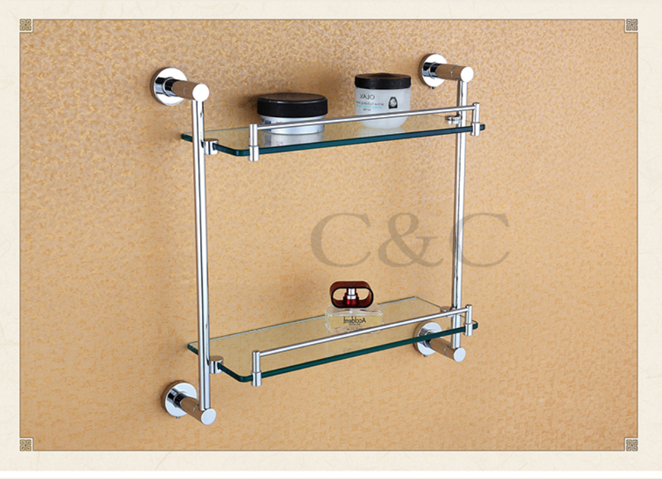 Noble And Elegant Solid Brass And Glass Chrome Plating Bathroom Double Towel Rack Holder 1914