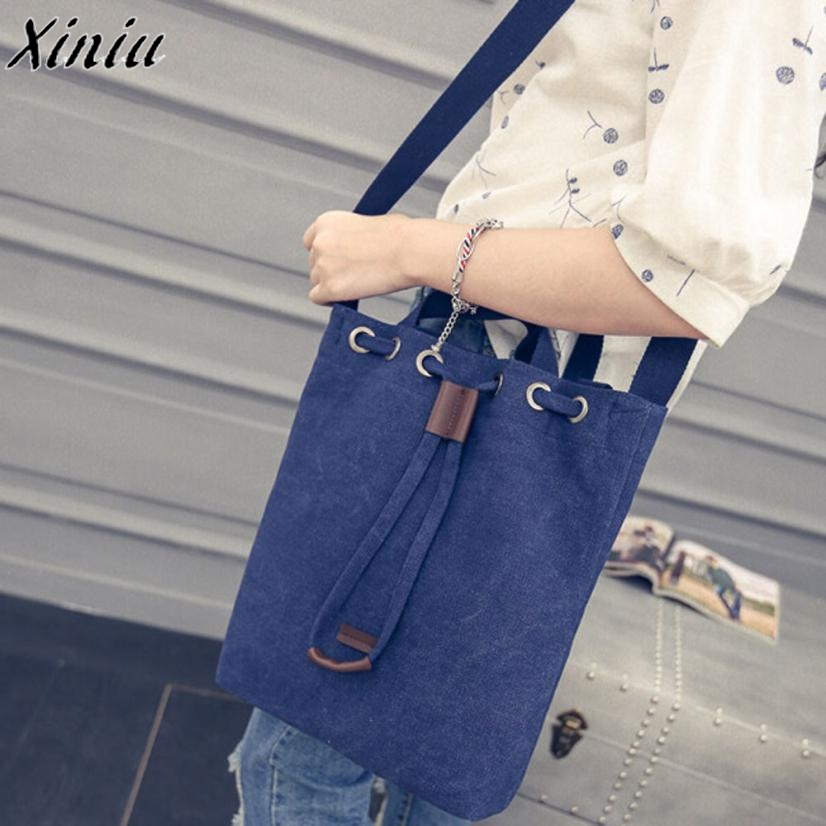 Women's Canvas Handbag Solid Color Bucket Shoulder Messenger Bag Ladies Satchel Tote Bags Sac Cabas Femme *7626