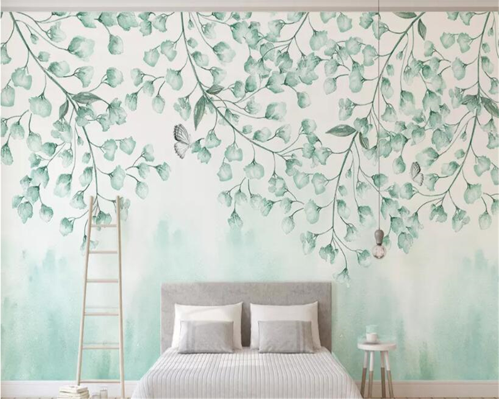 beibehang Custom size fresh green leaves watercolor style vine man plant Nordic minimalist TV background wall decorative paintin in Wallpapers from Home Improvement
