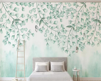 beibehang Custom size fresh green leaves watercolor style vine man plant Nordic minimalist TV background wall decorative paintin