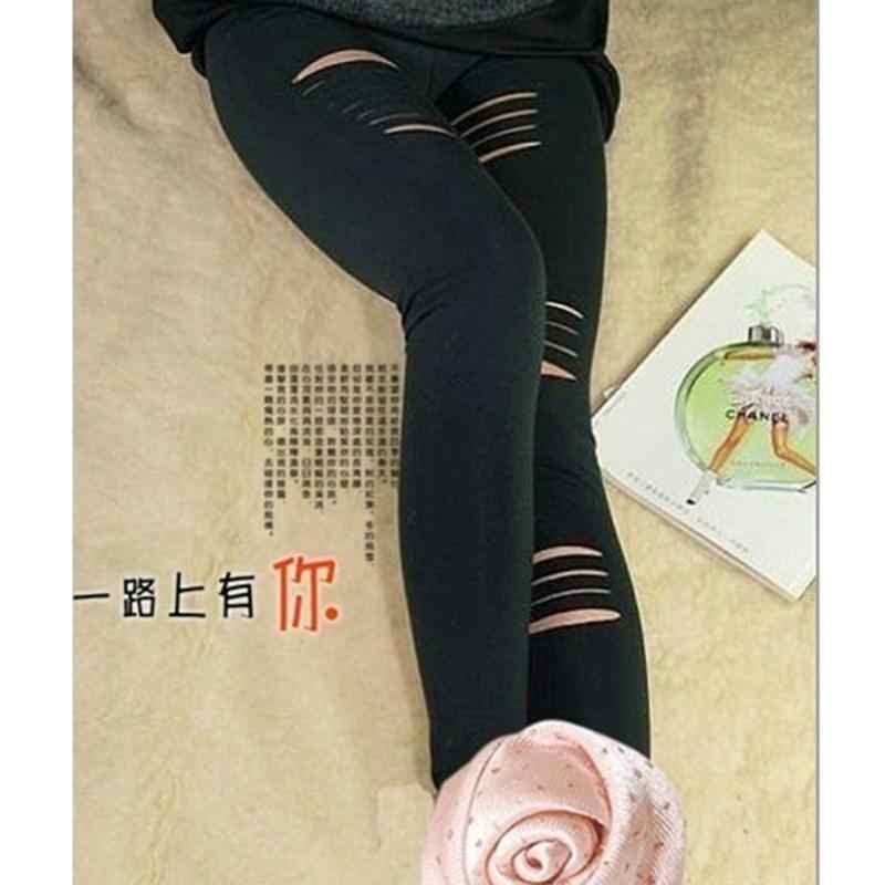 6d6948ac2dec9d ... Punk Style Women Fashion Ninth Pant Legging Cotton Torn Ripped Hole  Design Black Leggings Party Gothic ...
