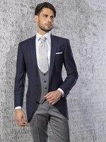 Custom Made Groom Tuxedos One Button Groomsmen Notch Lapel Wedding/Dinner Suits Best Man Bridegroom (Jacket+Pants+Tie+Vest) B604