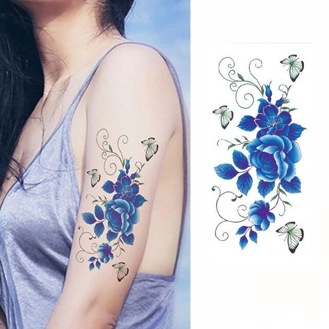 Azul Rosa Flores Brazo Hombro Flash Henna Tatuaje Falso Impermeable