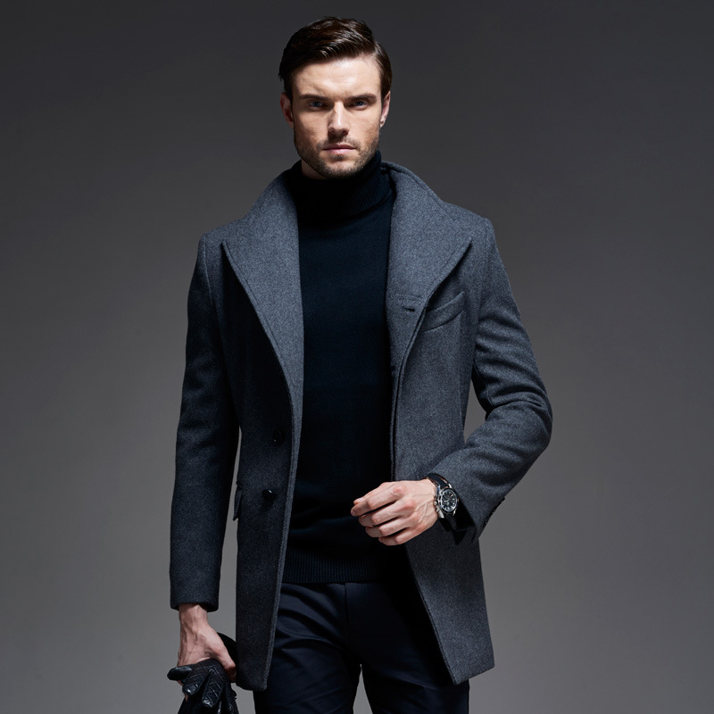 HOT new brand long men's trench coat zipper winter overcoats Plus size men wool coat winter windproof warm outwear