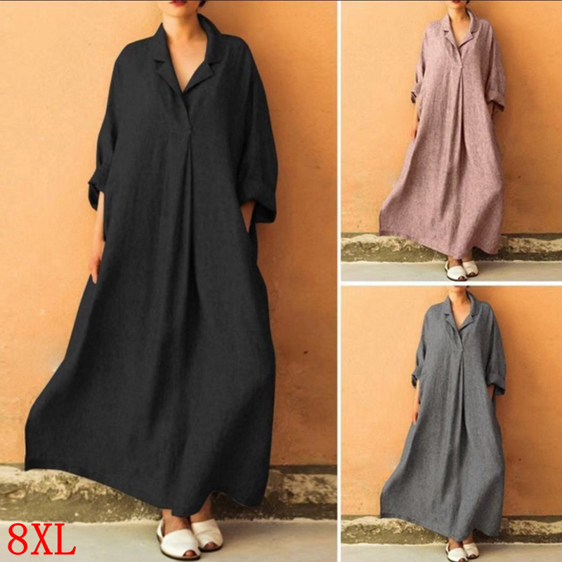 Large Size Women's Dress Cotton And Linen Plus Size 5XL 6XL 7XL 8XL Summer Long Sleeve Casual Loose Large Size Black Robe