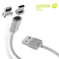 WSKEN Mini 1 Magnetic Cable Micro USB Cable For SAMSUNG HUAWEI 1M USB Wire For Iphone