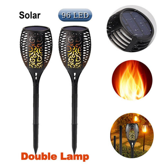 ICOCO Solar 96LEDs LED Flame Lamp Waterproof Lawn Dancing Flicker Torch Lights