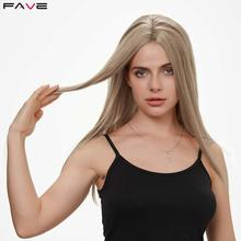 FAVE Synthetic Lace front Wig Straight Light Brown Blonde Middle Part