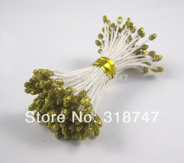 288 шт./лот, 3 мм, Двойные наконечники, разноцветные, с цветочным блеском, Stamen Pistil, свадебные украшения, сделай сам, C1102 - Цвет: Gold