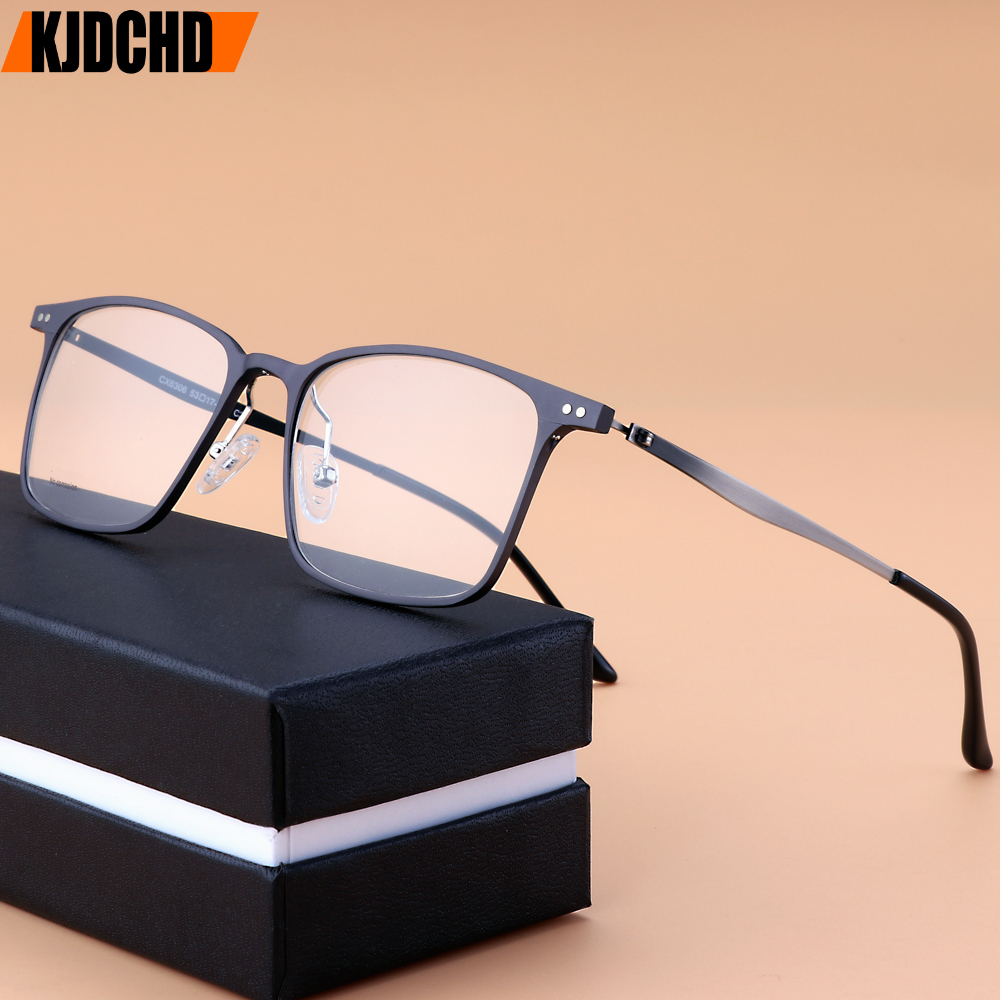 Titanium Alloy Optical Glasses Frame Men Ultralight Square Myopia Prescription Eyeglasses 2019 Male Metal Full Screwless