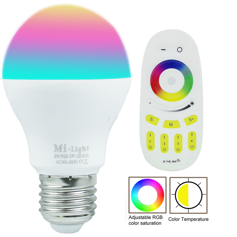 E27 6W Milight RGBW RGBWW LED bulb with 2.4G 4-Zone wireless led RF remote controller dimmable LED light home decoration mi light wifi led controller 4x2 4g dc12v 24v led controller rgbw 4 zone rf remote control for 5050 3528 led strip light