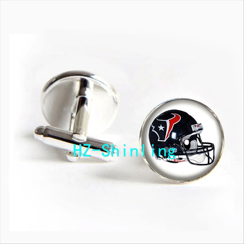 2017 wholesale Houston Texans Team Helmet Cufflink American Football Helmet Cufflinks High Quality Brand