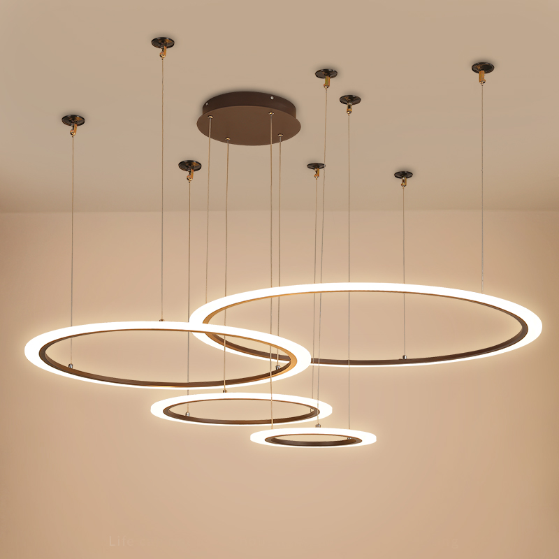 New modern 4-ring LED chandelier for living room dining bar counter kitchen light dimmable Coffee Color white gloss chandelierNew modern 4-ring LED chandelier for living room dining bar counter kitchen light dimmable Coffee Color white gloss chandelier