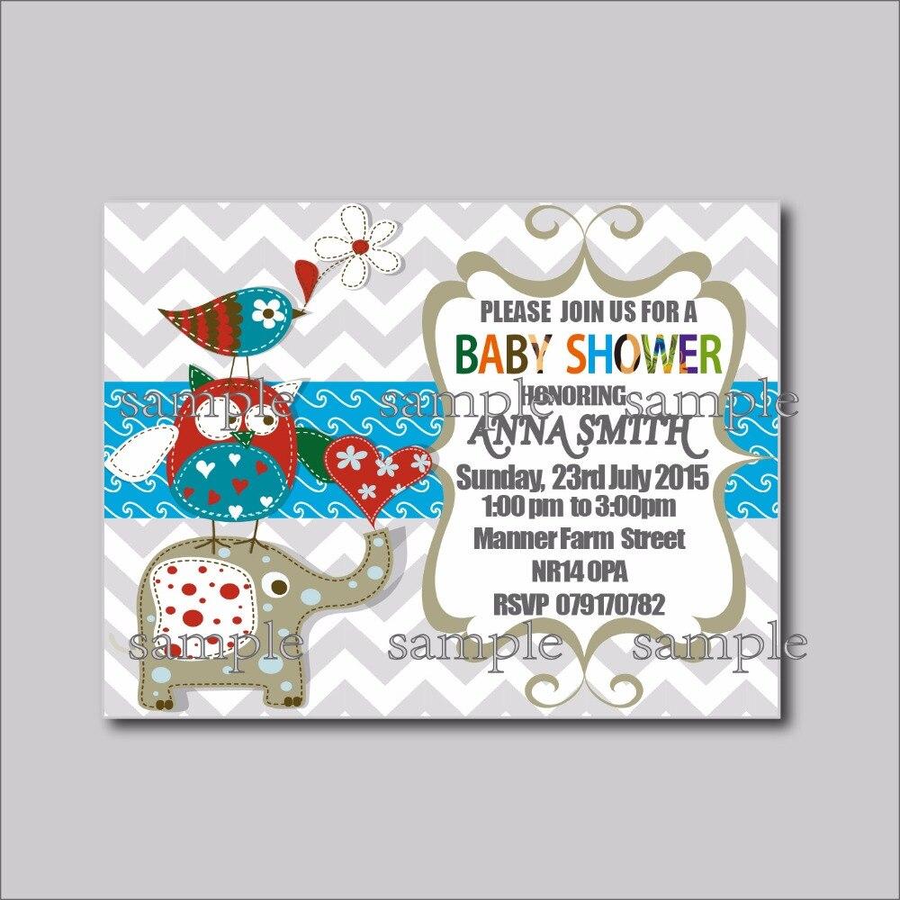 20 pcs/lot Custom Elephant Birthday invitations Baby Shower Invites ...