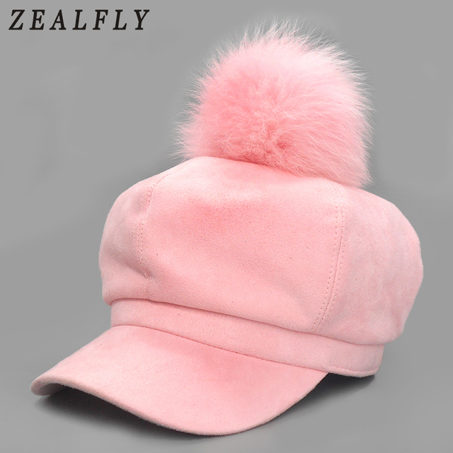 4a1757ae853 Solid Suede Fox Fur Ball Newsboy Caps Pink Pom Poms Winter Octagonal Hat For  Women Retro Luxury Design Cap Casual Beret