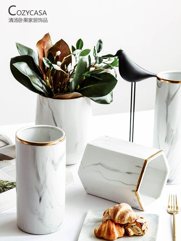 Hot Sale Marble Texture Ceramic Vase Ceramic Decorative Vases White