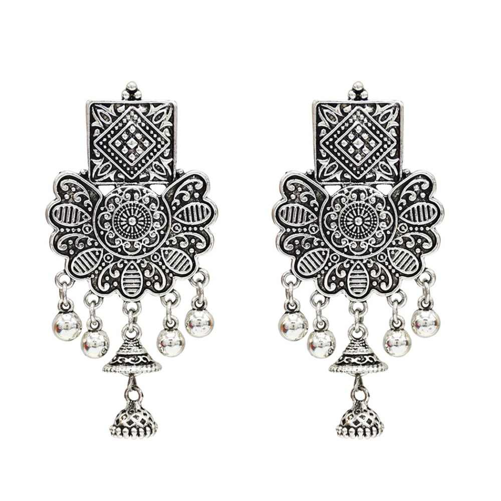 4fd4526c5 Detail Feedback Questions about Thailand Silver Gold Alloy Carved Flower  Drop Earrings Bells Tassel Statement Jhumka Earring Afghan India Nepal  Party ...