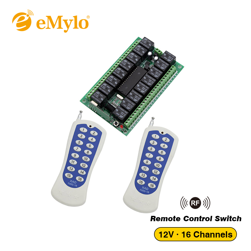 eMylo DV 12V RF Wireless Remote Control Multi Light Switch 433Mhz 1x16-CHs Relays Receiver 2X 16-button Transmitter controller hot sales rf wireless remote switch control 12v 1channels 4 relays 1 receiver
