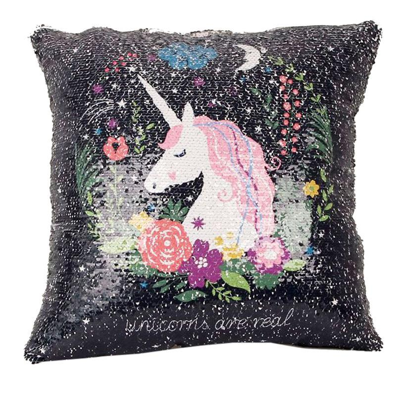 DIY Mermaid Sequin Pillow Case Cover Sofa Chair Bed Home Decor Cushion Cover Cartoon Animals Unicorn Throw Pillow Covers V3