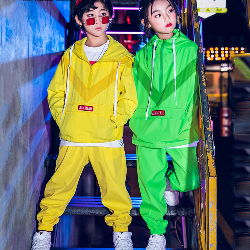 120-170CM Jazz Dance Costume Boys Hip Hop Clothing Yellow Green Modern Street Dance Outfits Kids Performance Clothing DWY1447