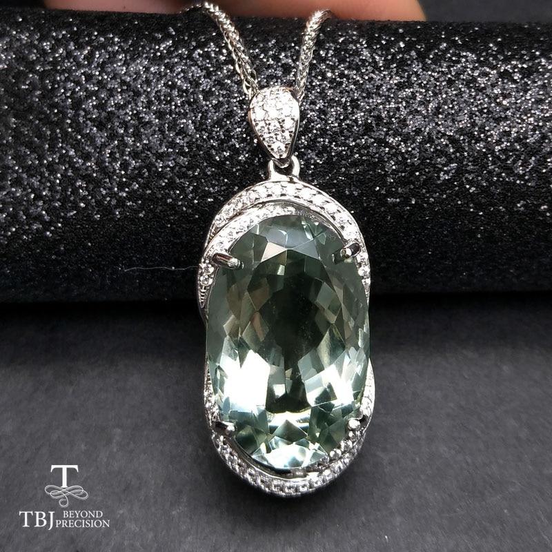 TBJ, grand pendentif avec 18ct naturel vert améthyste pierres précieuses en 925 en argent sterling, fine jewelry pour les femmes et fille avec boîte-cadeau
