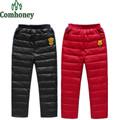 Boys Pants Girls Winter Duck Down Thick Warm Pants for Children Thicken PU Leather Trousers Kids Down Pants Kids Snow Pants