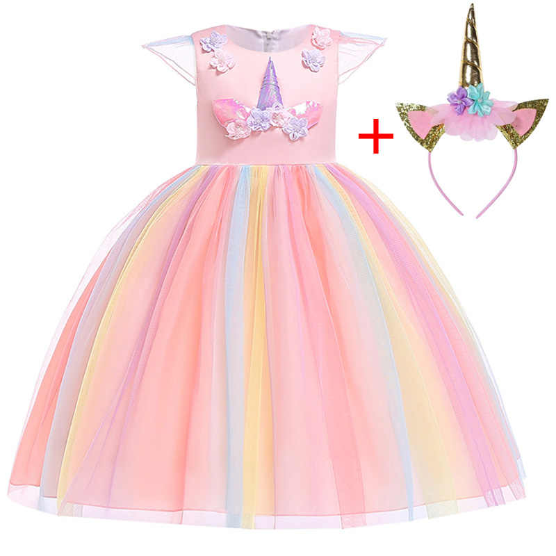 4469cdea225e Girl Pastel Rainbow Unicorn Princess Costume Fancy Cosply Unicorn Dress for Girls  Elegant Ball Gown Kids