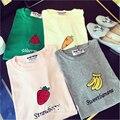 Patrón lindo Sandía Fresa Plátano Zanahoria Impresa Letra T Camisa de Las Mujeres Del Color Del Caramelo de Ocio de manga Corta Mujer Camiseta