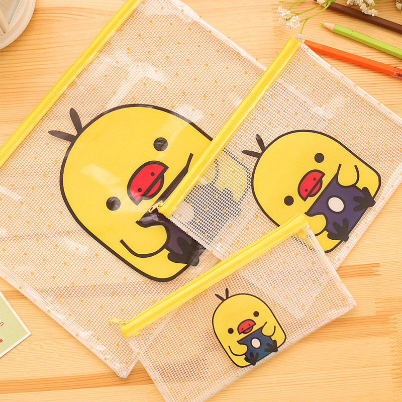 Cute Yellow Duck A4 File Bag Document Bag File Folder Stationery Filing Production School Office Supply Children's Pencil Case
